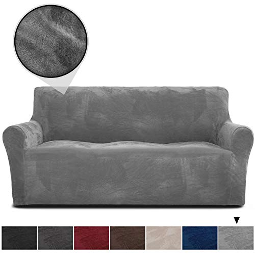 RHF Velvet-Sofa Slipcover, Stretch Couch Covers for 3 Cushion Couch-Couch Covers for Sofa-Sofa Covers for Living Room,Couch Covers for Dogs, Sofa Slipcover,Couch slipcover(Grey-Sofa)