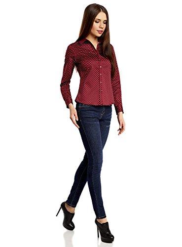 4912d Estampada Entallada Rojo Oodji Collection Mujer Camisa w8tqxgxBY