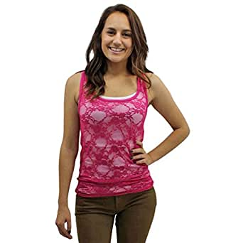 Fuchsia Pink Lace See Thru Tank Top Size Small
