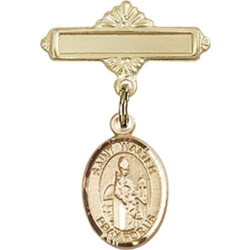 14kt Yellow Gold Baby Badge with St. Walter of Pontnoise Charm and Polished Badge Pin 1 X 5/8 inches by Unknown