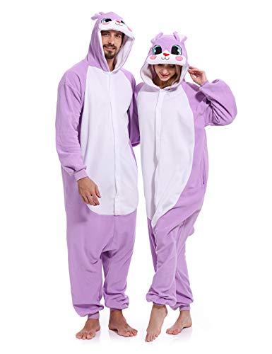 Adult Rabbit Onesies Pajamas Animal One Piece Cosplay Halloween Costume for Women -