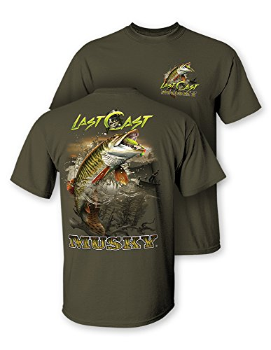 Follow the Action Musky Last Cast Two-Sided Short Sleeve Fishing T-Shirt (Small)