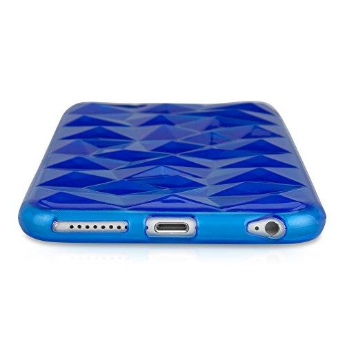 BoxWave RazMaDaz iPhone 6 Plus-Slim-Fit Coque en TPU à strass 3D, Texture à facettes pour iPhone 6 Plus (Bleu)