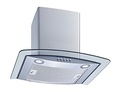 Winflo New 30'' Convertible Stainless Steel/Tempered Glass Wall Mount Range Hood with Aluminum Mesh filter, Ultra bright LED lights and Push Button 3 Speed Control by Winflo (Image #1)