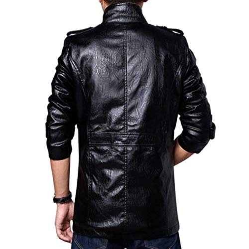 Retro Coat Men's Parka Huixin Schwarz Collar Classic Ntel Pu Winter Apparel Men's Jacket Jackets Autumn Stand Jacket Leather Warm qZffwFdxt