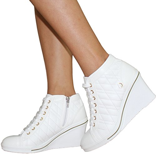 Women's Lace up High Heel Wedge High Top Side Zipper PU Leather Fashion Party Sneakers MultiShoe (8 US Women, White)