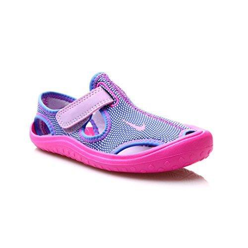 Nike Sunray Protect (PS) Little Kid's Shoes Hydrangeas/Fire Pink (3 Little Kid M) - Nike Girls Sandals
