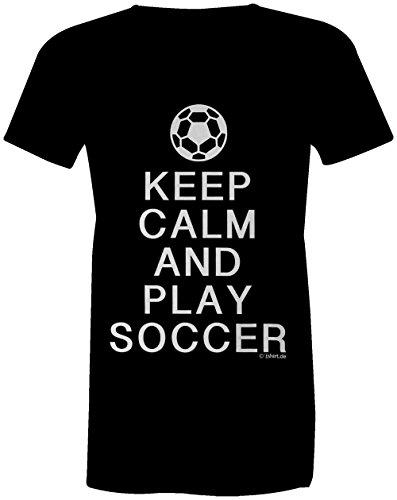 KEEP CALM and play Soccer ★ Rundhals-T-Shirt Frauen-Damen ★ hochwertig bedruckt mit lustigem Spruch ★ Die perfekte Geschenk-Idee