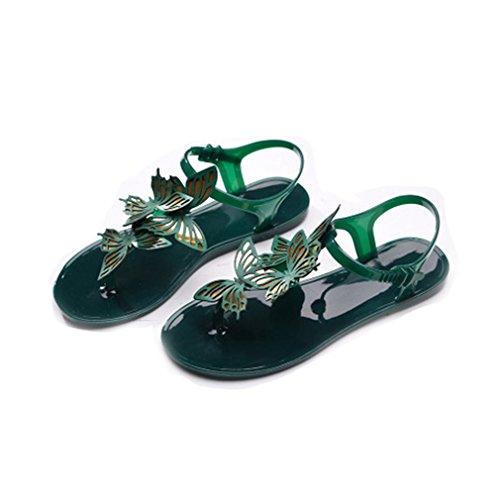 GIY Women's Flip Flop Jelly Sandals Summer Beach Retro T-Str