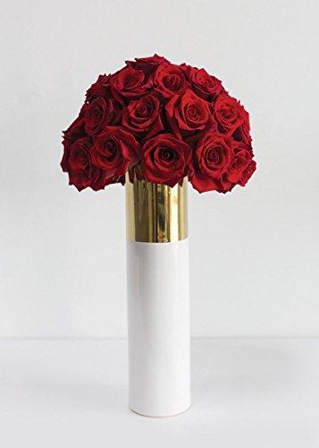(Afloral Klein Ceramic Cylinder Floral Vase in White and Gold - 16