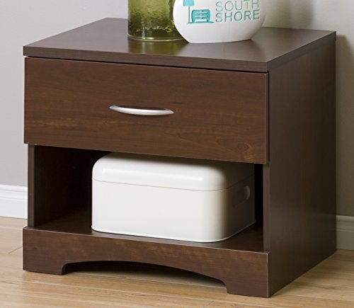 South Shore Step One 1-Drawer Nightstand, Sumptuous Cherry with Matte Nickel Handles -
