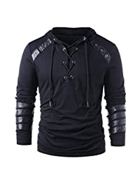 Mens Jacket ! Charberry Winter Drawstring Vintage Leather Patchwork Long Sleeve Hooded Tops Blouses