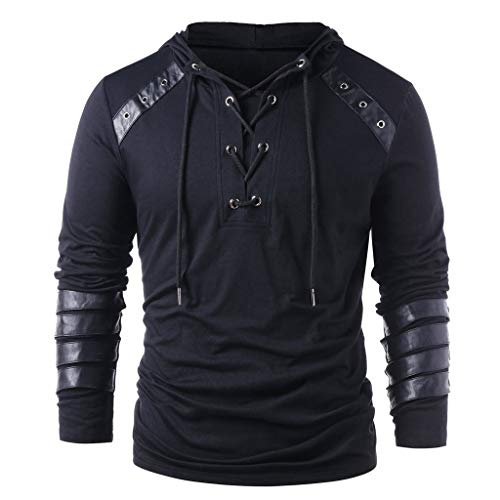 Fashion Hoodies, Men's Winter Vintage Drawstring Leather Patchwork Hooded Sweatshirt Tops