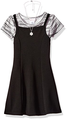 Girls Casual Dress Slip (Youngland Big Girls' Knit Jumper Dress With T-Shirt and Necklace, Black/Grey, 12)