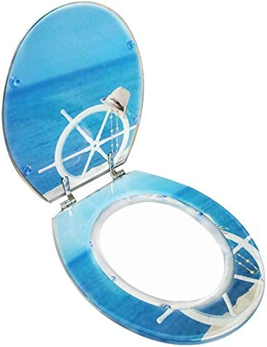 S-優雅な便座ラダートイレアジャスタブルヒンジ付き便蓋クイックリリース便座カバーV/U/O形トイレ用厚めのバスルーム蓋、OneColor-40〜48cm * 33〜38cm