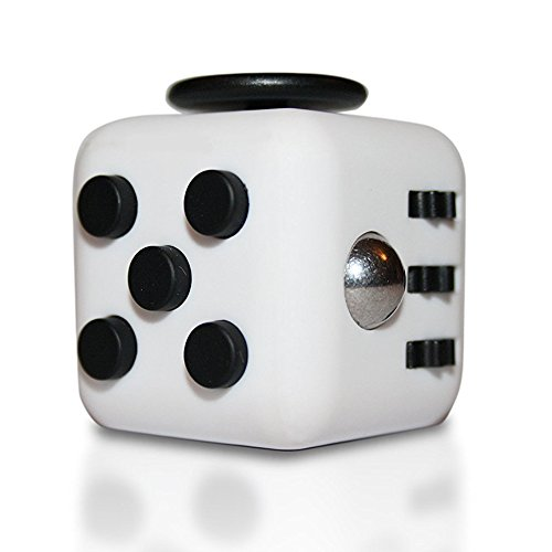 UNIQUE BRIGHT Fidget Spinner, Premium Hybrid Si3N4 Roulement Tri-Spinner Fidget Spinning Toys Tuer le temps Soulager le stress (Cube-White/Black)