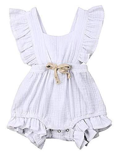 (LeCessoriz Romper for Baby Girl, One Piece Cotton Flutter Sleeve Bodysuit for Newborn, Baby, Toddler (12-18 Months, White))