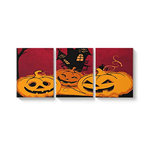 (Arts Language 3 Piece Canvas Wall Art Painting for Office Bedroom Living Room Home Decor,Funny Pumpkins Smile Face Pattern Happy Halloween Pictures Modern Artworks,28 x 32in x 3)