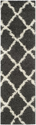 Safavieh Dallas Shag Collection SGD257A Dark Grey and Ivory Runner, 2 feet 3 inches by 8 feet (2'3