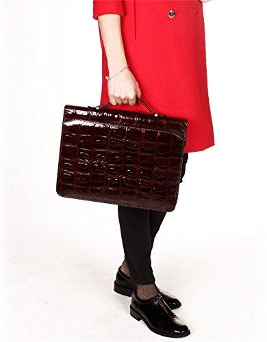 iCarryAlls Zippered Business Portfolio, Professional Dark Brown 100% Hakiki Genuine Leather Padfolio Organizer by iCarryAlls