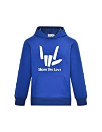 Thombase Share The Love Inspired Kids Children's Girls and Boys Pullover Hoodie with Pocket