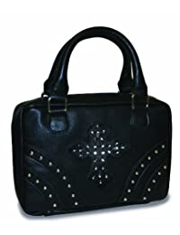 Divinity Boutique Bible Cover Black with Rivets and Black Gem Cross - Extra Large (22454)