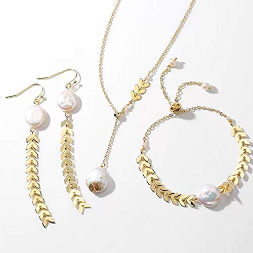 Fashion Jewelry Champagne Gold Rice Beads Pearl Dangle Drop Earrings Bracelet Pearl Pendant Necklace Set (One Set)