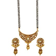 Bindhani Indian Bollywood Bridal Wedding Gold Plated Mangalsutra Pendent Necklace Jewelry Set For Women