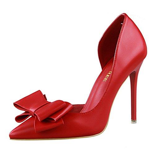 Élégant Femme Escarpins Pour Sandale Hauts Chaussures Nœud Fermés Rouge Pumps Talons Aiguille Pointus Inconnu awFqSTxg