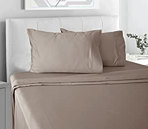 Chateau Home Collection Luxury 100% Cotton Ultra Soft 300 Thread Count Bed Sheet Set, Great Deal Lowest Prices, King - Beige