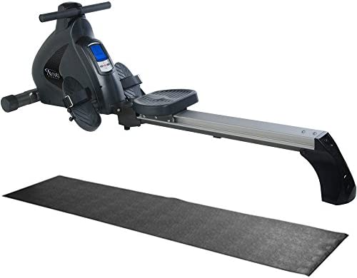 Stamina Avari Programmable Magnetic Exercise Rower with Fold-to-Fit Folding Equipment Mat 84-Inch by 36-Inch
