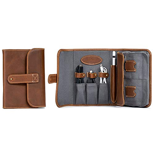 (Techfolio Cord Organizer, Leather Tech Carrying Case, Accessory Bag for Tech, Accessory, and Cable Organization (Whiskey))