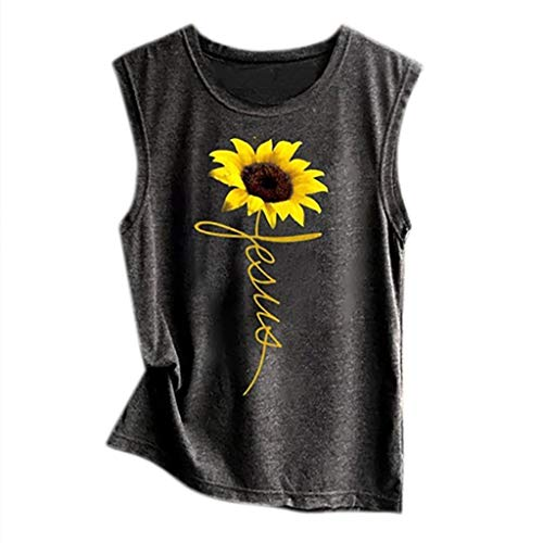 Realdo Womens Tanks Tops,Sunflower Print,Casual Loose Sleeveless Vest Sport Pullover Top Black - Print Weave Basket Shirt