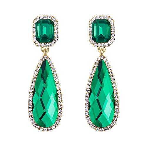 BriLove Wedding Bridal Dangle Earrings for Women Crystal Asscher Cut Elongated Faceted Teardrop Infinity Earrings Emerald Color -