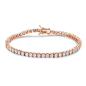 GEMSME GMESME 18K Rose Gold Plated Cubic Zirconia Classic Tennis Bracelet 7.5 Inch