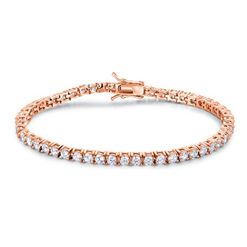 GMESME 18K Rose Gold Plated Cubic Zirconia Classic Tennis Bracelet 7.5 Inch (Gold Plated Bracelet Rose Gold)