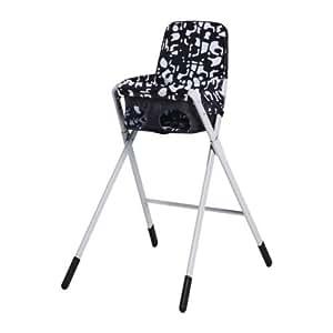 IKEA SPOLING - Trona con cinturón de seguridad, negro, blanco