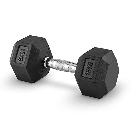 Capital Sports Hexbell 15 Mancuernas 15kg (Par de pesas cortas de 15 kilos cada una, cabezal hexagonal, nucleo de hierro, revestimiento goma resistente a ...
