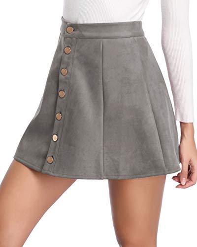 fuinloth Women's Faux Suede Skirt Button Closure A-Line High Wasit Mini Short Skirt 2020