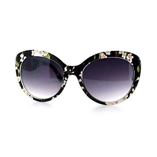 Womens Fashion Sunglasses Stylish Round Butterfly Frame Black - Round Sunglasses Floral