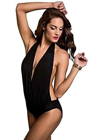 Amour- Sexy Halter Neck One Piece Monokini Women Swimwear Bathing Bath Suit Black (Blk Halterneck)