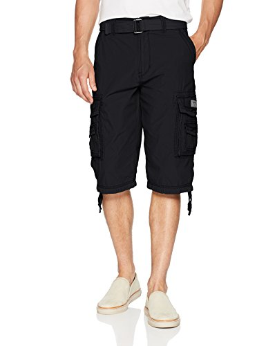 Cotton Solid Pockets Zipper - Unionbay Men's Cordova Belted Cargo Short Messenger -  34 - Black