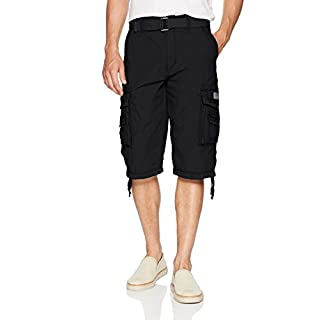 Unionbay Men's Cordova Belted Messenger Cargo Short - Reg and Big and Tall Sizes, black, 52