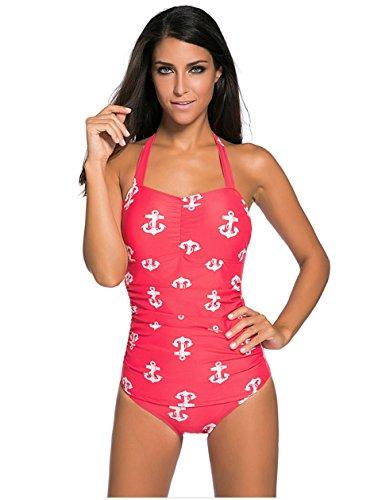 HZZ Un cabestro pieza para mujer traje de baño de la vendimia Monokinis 4