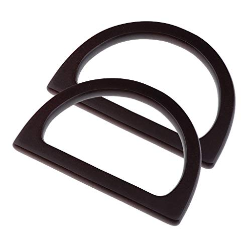 - Prettyia 1 Pair DIY Wooden Purse Bag Handle Handbag Accessories Wood Frame Evening Clutch Handle Part - Black