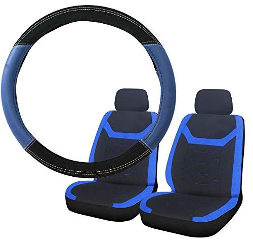 UKB4C Blue & Black Steering Wheel & Front Seat Cover set for Saab 9000 All Models: