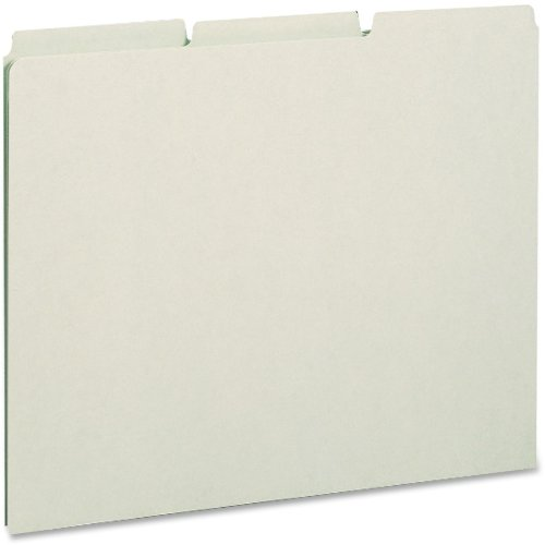 Smead 100% Recycled Pressboard File Guides, 1/3-Cut Tab (Blank), Letter Size, Gray/Green, 100 per Box (50334)