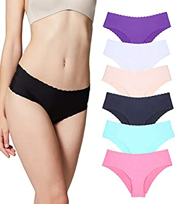 Micolin Underwear Women, Panties Hipster Seamless Invisible Bikini Half Back Coverage Lingerie-6 Pack Colors