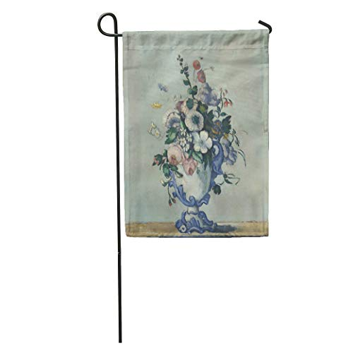 (Semtomn Garden Flag Flowers in Rococo Vase by Paul Cezanne 1876 French Post Home Yard House Decor Barnner Outdoor Stand 12x18 Inches Flag )