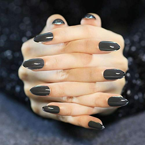 Fake Vampire Nails (Yeemoo Vampire series Wine red gold edge glitter night club long nail patch (Black bottom silver)